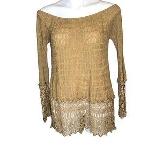 Umgee Off The Shoulder Boho Knit Lace Top m/l.